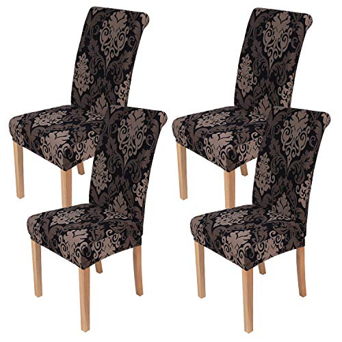 smiry 4 Pack Printed Dining Chair Covers, Stretch Spandex Removable Washable Dining Chair Protector Slipcovers for Home, Kitchen, Party, Restaurant (Black with Brown)