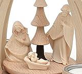 Dekohelden24 Tisch-Pyramide aus Buchenholz Christi Geburt mit Handgeschnitzten Tiroler Figuren für 4 Teelichter L/B/H ca. 18 x 14 x 24 cm - 3
