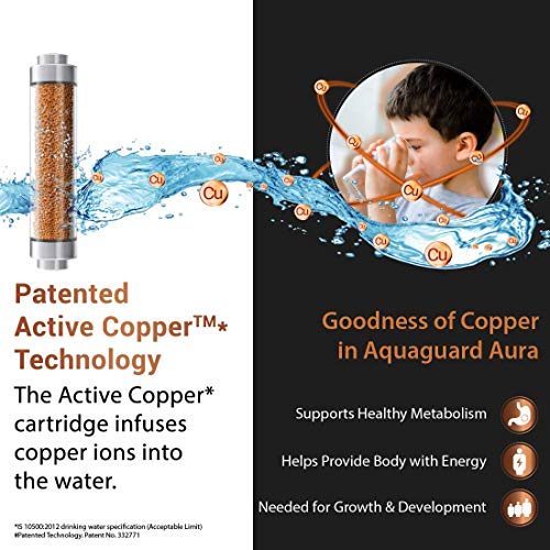 Eureka Forbes Aquaguard Aura 7L water purifier UV e-boiling+Ultra Filtration with Active Copper, Mineral Guard Technology, 6 stages of purification Black & Copper