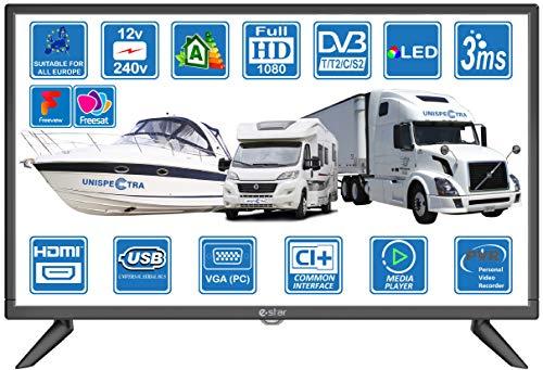 Motorhome Caravan Boat 12 Volt 24 Inch LED Digital HDR TV DVB-T2 /C/S2 Freeview Freesat Cable TV. 12V 240V USB PVR & Media Player, VGA & HDMI PC Monitor by Unispectra® (UK DVB-T2+DVBS2 (2021))