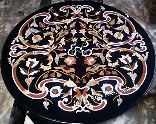 Gifts And Artefacts Table de salle à manger ronde en marbre marbre avec motif floral incrusté peut être utilisée dans le jardin, chalet artisanal, 48 pouces