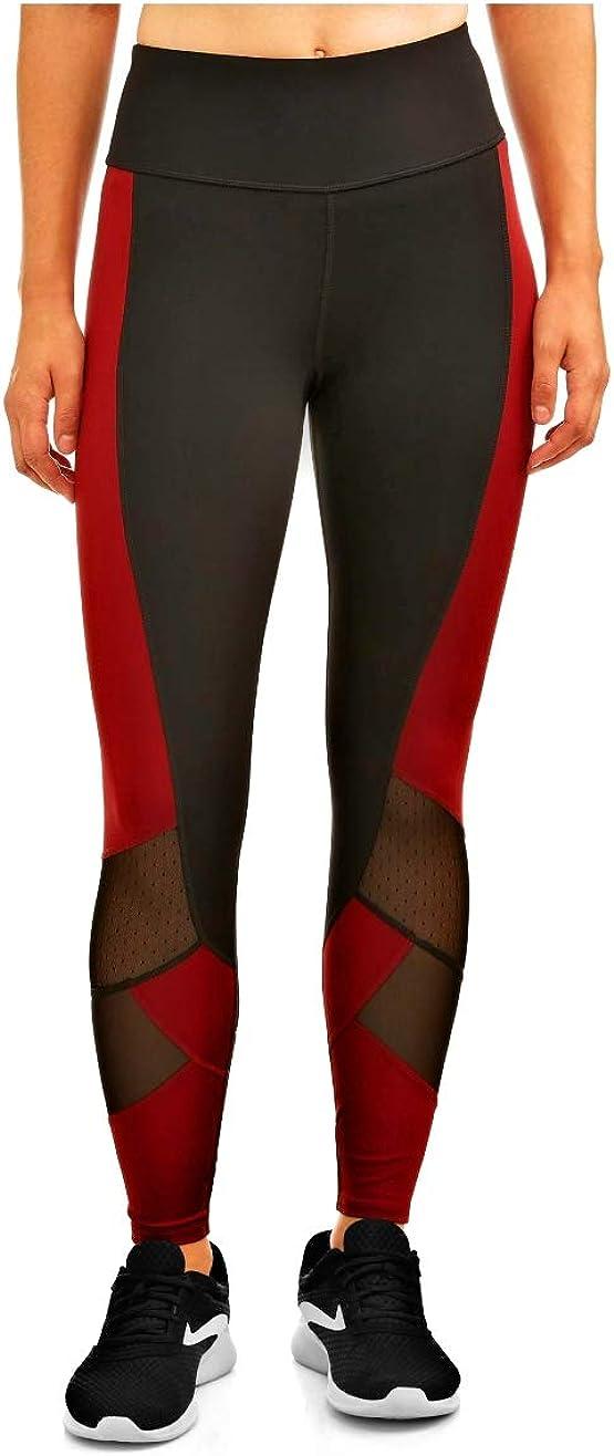 Avia Women's COLOREBLOCK Capri Leggings LG 12-14 Black Shoot and RED Balm