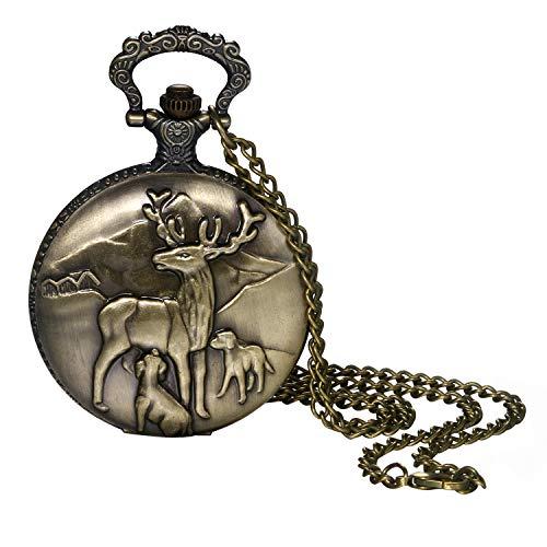 Taschenuhr für Herren und Jungen, Vintage-Bronze, niedliches Hirsch, dekoratives Gehäuse, arabische Ziffernblatt, Quarz, analoge Taschenuhr mit Kette für Weihnachten