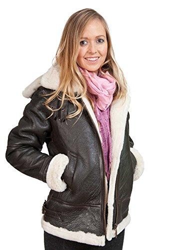 Frauen Braunes Kapuzen-Schaffell Fliegende Lederjacke mit Sahnepelz 4XL