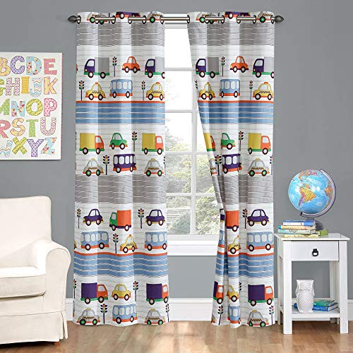Kids zone Home Linen 2 Panel Curtain Set with Grommet for Boys Girls Teens Bedroom Multicolor Set Cars Bus Truck Taxi Traffic Light Blue Grey Orange Red Yellow Green Transportation New