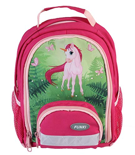 Pinker Mädchenrucksack mit Einhorn-Print von FUNKI, Kinder Rucksack in Rosa mit Einhorn für Freizeit und Kindergarten
