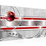 Bild Abstrakt Modern Wandbilder - 100% Made In Germany - Grau Rot Silber Flur 108214a