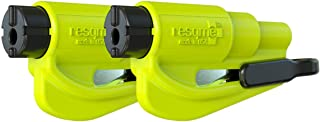 resqme Seatbelt Cutter and Window Glass Breaker 2 in 1 Quick Car Escape KeyChain Tool Neon - Pack of 2