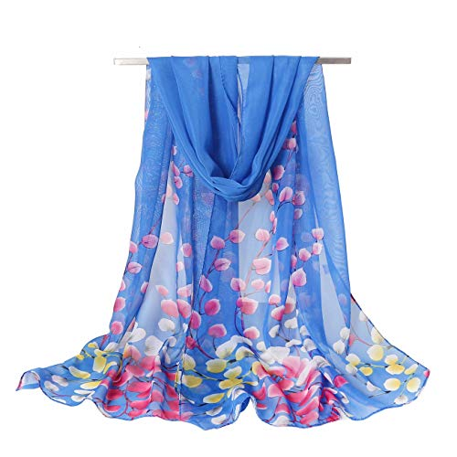 Women's Chiffon Scarf Lightweight Scarves Fashion Floral Print Scarfs Shawl for Ladies and Girls (Plum&Blue)