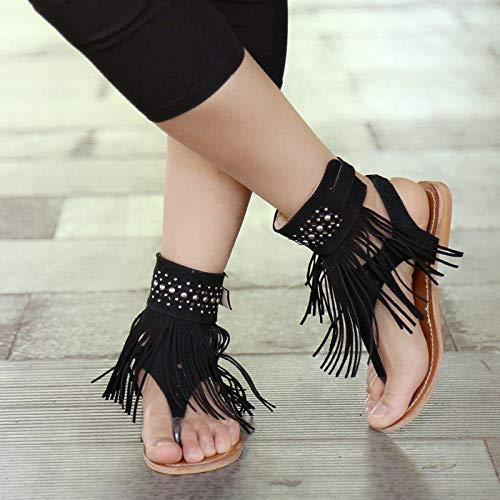 FKYGDQ Las Mujeres del Verano De Bohemia Sandalias Pisos Borlas Zapatos del Verano Ocasional Mujer Flip-Flop del Deslizador De La Playa Sandalias Zapatos Mujer (Color : Black, Size : 38)