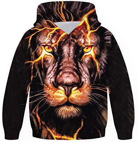 Loveternal Felpe Ragazzo Leone Felpe Bambini Ragazzi Ragazze Felpa con Cappuccio 3D Pullover Lion Hoodie Bambino Sport Palestra Allenamento Sweatshirt 10-13 Anni XXL