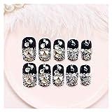 Wuxun-Nail 24 PCS/Set Press en Clavos Falsos para Las Mujeres DIY Decoración de uñas Inlay Black Black Long Fake Nails Consejos