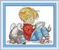 LovetheFamily クロスステッチキット DIY 手作り刺繍キット 正確な図柄印刷クロスステッチ 家庭刺繍装11CT ( インチ当たり11個の小さな格子)中程度の格子 刺しゅうキット フレームがない - 44×37 cm 子供と犬