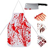 SATINIOR Halloween Bloody Butcher Costumes Zombie Butcher Apron Knife Severed Fingers and Scar Tattoo Stickers for Haunted House Decorations