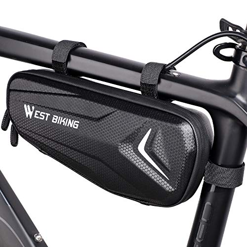 WESTLIGHT Bike Frame Bag Waterproof,3L Large Capacity Bicycle Bags for Frame,Saddle Bag,Top Tube Bag Cycling for Mountain Bike MTB BMX,Easy to Install Cycle Frame Bag Triangle,Bike Phone Holder Bags