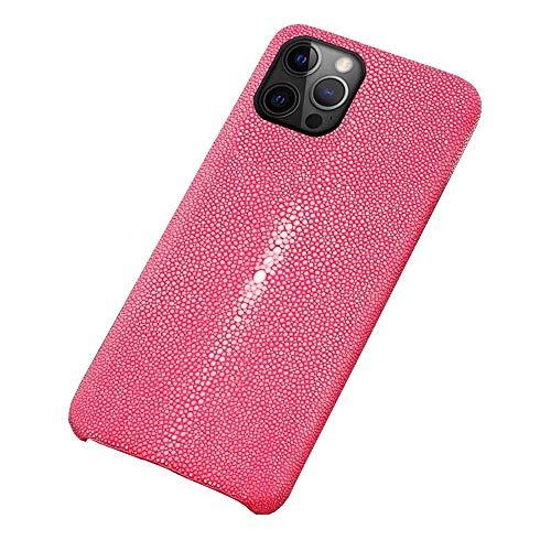 Funda para Apple iPhone 12 Pro Max (2020) de 6.7 pulgadas, piel de pescado perlado, resistente a golpes, transpirable, protección de pantalla y cámara], color rosa rojo