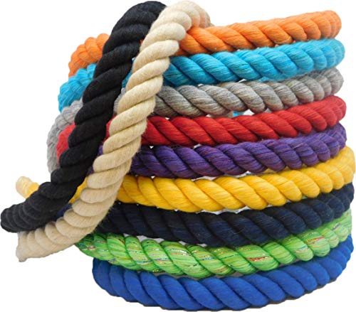 "FMS Ravenox Natural Twisted Cotton Rope | (Red, Snow White & Royal Blue)(1/2"" x 10') 