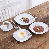 VEWEET Tafelservice 'Annie' aus Porzellan 60 teilig | Kombiservice beinhatlet Kaffeetassen 175 ml, Untertasse, Dessertteller, Speiseteller und Suppenteller| Komplettservice für 12 Personen - 2