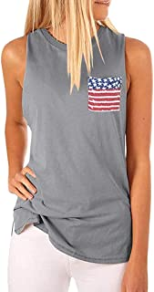Wasababy Blouses for Women Summer Women Casual High Neck Tank Sleeveless Blouse T Shirts American Flag Pocket Cami Tops