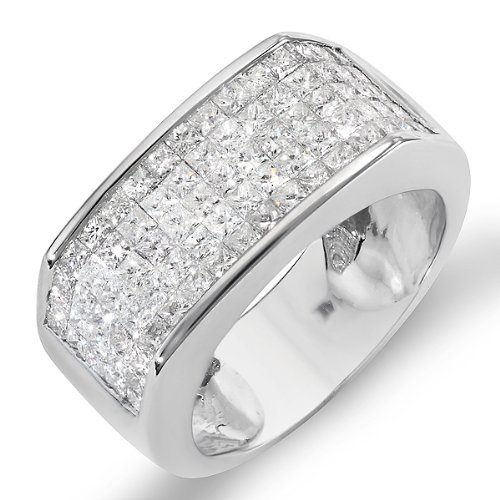 DazzlingRock Anillo de oro blanco de 14 quilates con diamantes redondos para hombre, 2 1/2 quilates (2,50 quilates, color H-I, claridad I1)