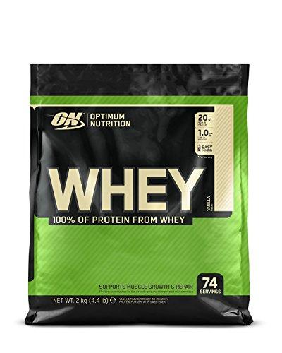 Optimum Nutrition Whey, Shake di Proteine in Polvere a Basso Contenuto di Zuccheri con Aminoacidi per la Crescita Muscolare, Vaniglia, 2 kg, 74 Porzioni