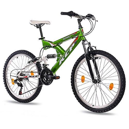 KCP 24' Bici da Bambini Mountain Bike Panthera 18 Velocita Shimano Bianco Verde (WG) - 61,0 cm (24 Pollici)