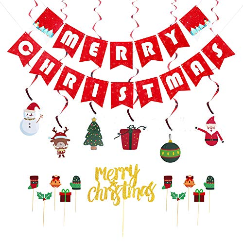 Toyfun Paper Christmas Banners Flags, Merry Christmas Banner Flag with Hanging Ornaments for Door Wall Window Kids Classroom Home Office Hotel Birthday Party Scene Decoration Supplies