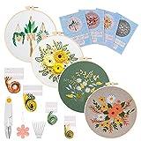 GOTH Perhk Kit de iniciación de bordado, kit completo de iniciación de bordado con patrones florales e instrucciones para coser, artesanía DIY