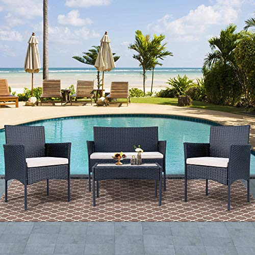 Azkoeesy Conjunto de muebles de jardín de polirratán para 4 personas, sofá y mesa, incluye cojín para jardín, balcón y terraza (negro + ratán)