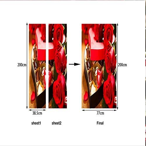 DOORWP Türaufkleber Valentinstag Rote Rose Schokogeschenk Selbstklebender transplantierbarer Badezimmeraufkleber 77 X 200cm