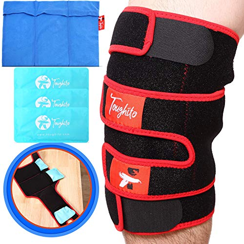 TOUGHITO Hot & Cold Knee Ice Pack Wrap – Compression Knee Wrap for Pain, Swelling, and Recovery with 3 Reusable Hot/Cold Gel Packs + BONUS Ice Pack Sleeve – Comfy Ice Pack Wrap with Knee Support