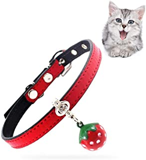 Cat Collar with Strawberry Pattern Bell Perfect for Puppy and Cat,Adjustable from 20-28cm