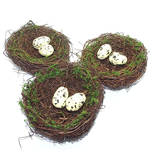 3Pcs Dry Natural Rattan Twig Bird Nests with Eggs for Artificial Plant Flower Decor DIY Craft Wedding Home Room Wall Ornament