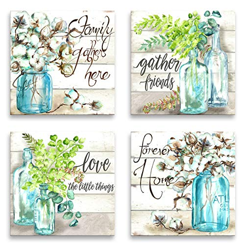 Wall Art for Kitchen Canvas Print Beautiful Watercolor-Style Family Gathers Here and Forever Home Mason Jar Floral Artwork Four 12x12inch Framed Prints