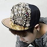 CWH-hat Sombrero de Hip Hop con Cabeza de Leopardo de Metal Gorra de Béisbol de Hip Hop con Diamantes de Color Calavera, Negro