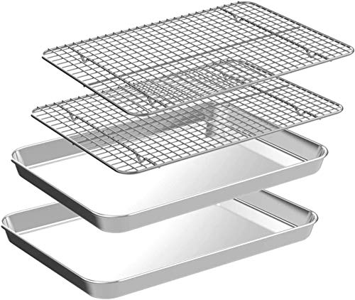 Quarter Baking Sheet with Rack Set [2 Pans + 2 Racks], CEKEE Stainless Steel Cookie Sheet Baking Pan Tray with Cooling Rack, Non Toxic & Heavy Duty & Easy Clean (10 Inch)