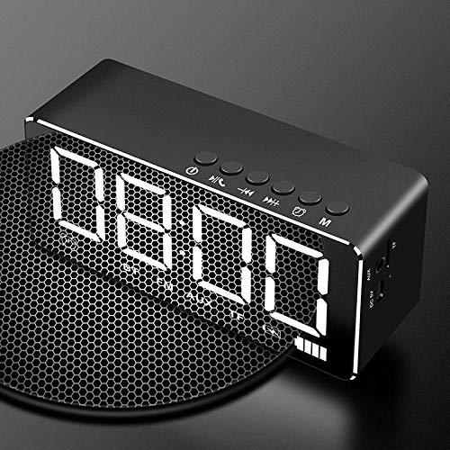 FPRW Digitale wekker met lampjes, met kleine luidspreker, Bluetooth, intelligent, stereo, minihorloges, draadloos, voor subwoofer Zwart