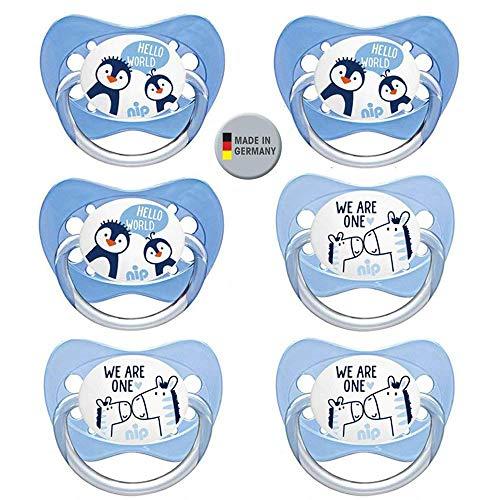 NIP, set di 6 ciucci, in silicone con anello di misura 3 (18-32 mesi), privi di BPA, realizzati in Germania