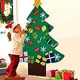 COOFIT 3.3ft Albero Natale Feltro con 28 pz Ornamenti DIY Albero Natale Parete con Corda per Bambini Natale Regali Home Porta Parete Decorazione (28pz Ornamenti)