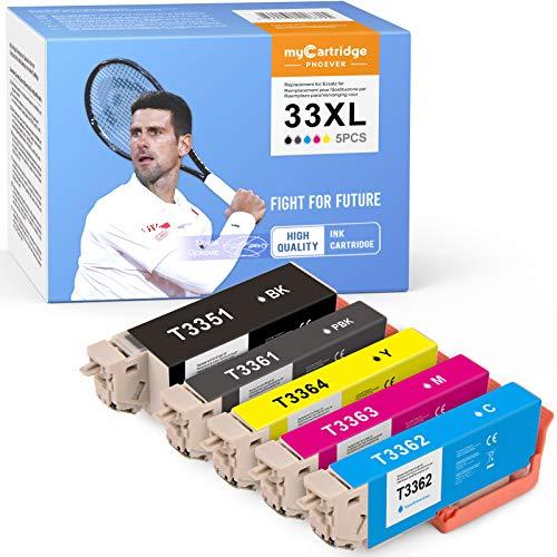 MyCartridge PHOEVER Cartucho compatible con Epson 33 33XL para Epson Expression Premium XP-540, XP-530, XP-640, XP-645, XP-830, XP-7100, XP-900, XP-630, XP-635 (negro, cian, magenta y amarillo)