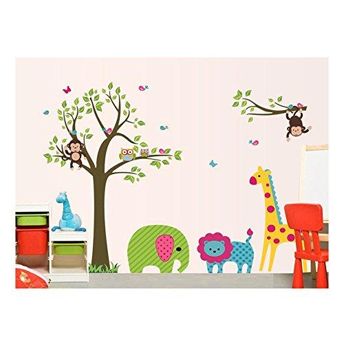 Adhesivo de montaje en la pared de la habitación y bonito pegatinas de bricolaje/pared/Stickers/pared/pared pegatinas de vinilo para niños/niños pequeños para dormitorio/cuarto de los niños con diseño de peluche, diseño de monos, diseño de León, la jirafa, diseño de búhos y de árbol de diseños de en muchos coloures de VAGA
