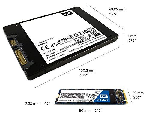 Western Digital WDS500G2B0B WD Blue 3D NAND Internal SSD M.2 SATA, 500 GB - Black