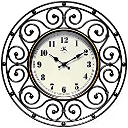 Infinity Instruments Provinciale 18 inch Decorative Wrought Iron Bronze Wall Clock for Living Room, Bathroom, Bedroom Home Decor Battery Operated