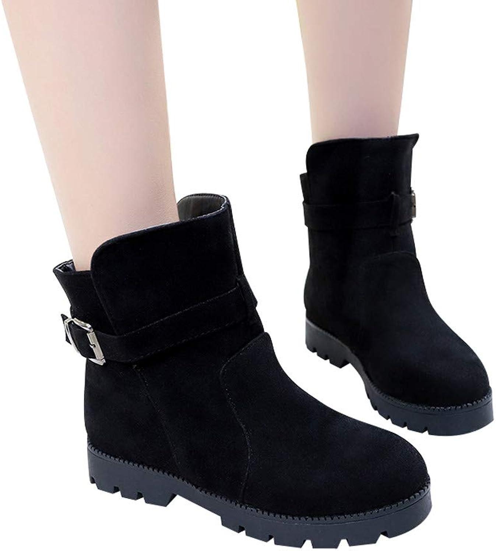 Fheaven Women's Flat Ankle Snow Boots Suede Buckle Strap Boots Warm shoes Non Slip (US 6, Black)