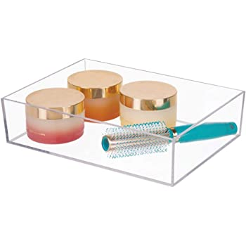 mDesign Plastic Storage Organizer Tray for Bathroom Vanity Countertops, Closets, Dressers - Holder for Guest Hand Towels, Watches, Earrings, Makeup Brushes, Reading Glasses, Perfume - Clear