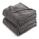 CHEE RAY 2 Pack Superior Fluffy and Warmth Sherpa Blankets for Small Medium Puppies and Dogs, Sweet Dreams Pet Bed Cover for Kittens and Cats, Gray, 30 x 24 Inches