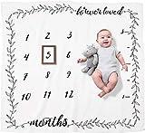 Organic Baby Monthly Milestone Blanket - Baby Girl or Boy Milestone...