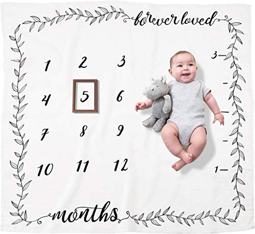 Organic Baby Monthly Milestone Blanket Boy or Girl - Forever Loved Baby Month Blanket + Frame - Personalized Baby Milestone Blanket with Growth Chart, Newborn to 12 Months Blanket, Baby Shower Gift