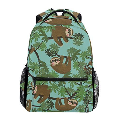 School College Backpack Rucksack Travel Bookbag Outdoor Cute Jungle Sloths Blue