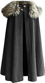OMINA Mens Celtic Wool Cape Coat, Fashion Winter Vintage Gothic Cloak Jacket Lapel Loose Fit Windproof Cardigan